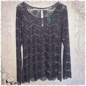 Maurices Purple Lace Blouse Long Sleeve Size Med